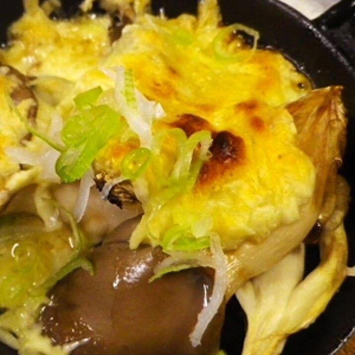 グリルパンで、平茸のチーズ焼き