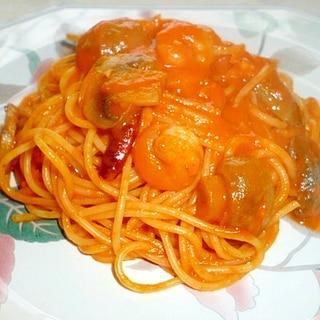 海老とマッシュルームのトマトクリームパスタ♪