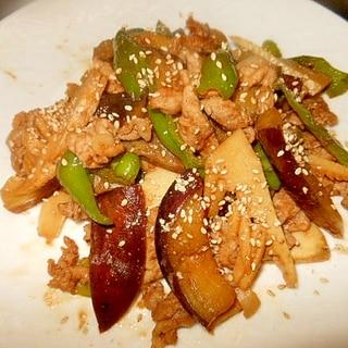 茄子・牛肉・ピーマン・筍の焼き肉のたれ炒め