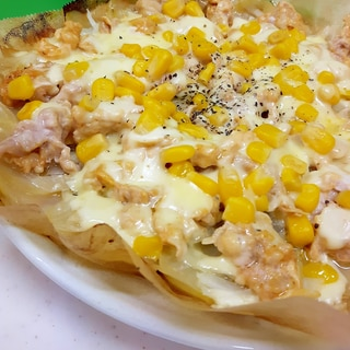 豚肉とじゃがいものトマケチャ・マヨコーンピザ風♪