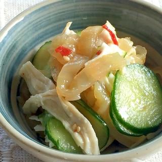 簡単一品★鶏ムネ肉と中華クラゲの中華和え