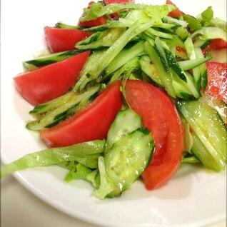 手作りドレッシングの夏野菜サラダ