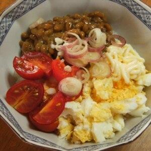 ☆ゆで卵*トマト*大葉入り納豆☆