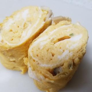 玉ねぎ、椎茸の醤油卵焼き