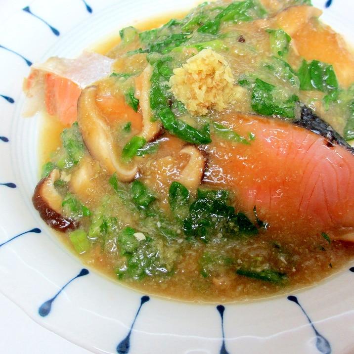 鮭と豆腐の春菊おろしあん