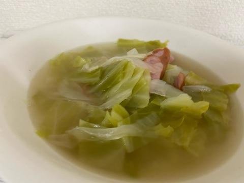 新玉ねぎと春キャベツとウインナーのスープ