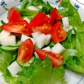山芋入りサラダ!ゆず胡椒とポン酢のドレッシングで
