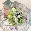 胡瓜、おかhじき、しらす、枝豆の和え物