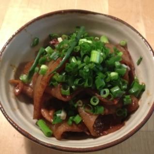 豚コマとこんにゃくの味噌炒め