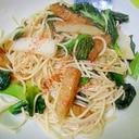 小松菜と長芋さつま揚げのひやむぎ炒め
