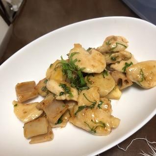 鶏胸肉と根菜の麺つゆ炒め