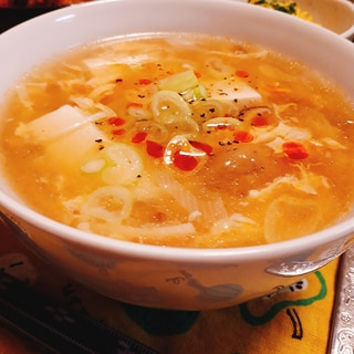 酸っぱ辛い♪酸辣湯スープ