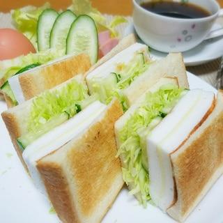 自宅でカフェ風モーニング♡チーズはんぺん焼きサンド