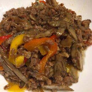 ひき肉とごぼうの甘辛炒め