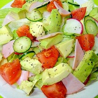 アボカドとハムのグリーンサラダ