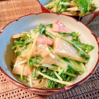 水菜と大根のガーリックマヨ炒め