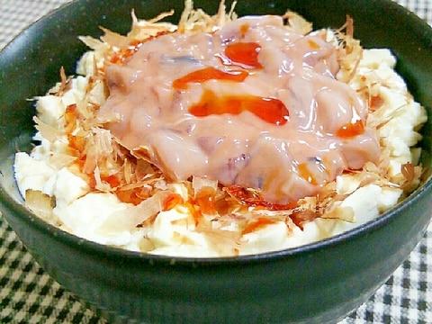 ズボラ飯♪豆腐と塩辛の丼