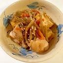 残ったきんぴらごぼうで 鶏ももと厚揚げの炒め物