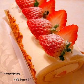 生地材料3つだけ♪ふわふわ簡単ロールケーキ♡