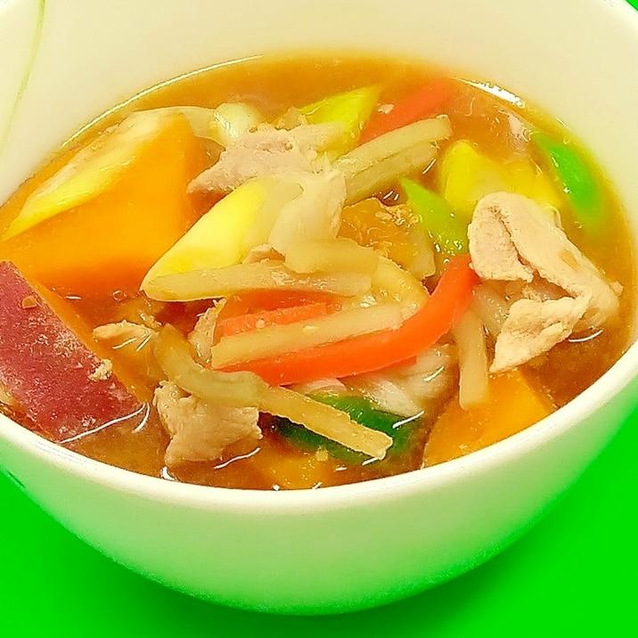 冷凍食品で簡単(^^)ヘルシー具だくさん豚汁♪