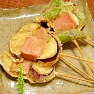 魚肉ソーと茄子、シシトウの串天
