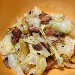 キャベツとマッシュルームのオイルサーディン風味