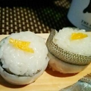 おもてなしにも、さよりの手巻き寿司