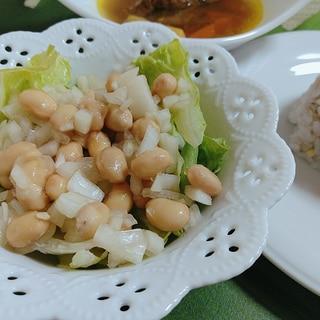玉ねぎドレッシングと蒸し大豆の簡単リラックスサラダ