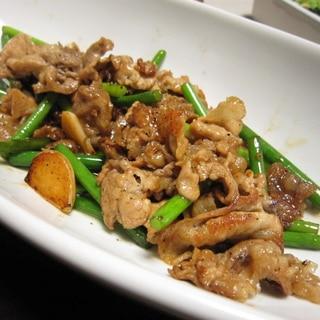 簡単☆豚コマとニンニクの芽の炒め物