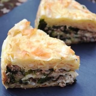 トルコ料理★クルユフカでひき肉とほうれん草のボレキ