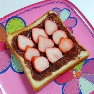 おやつトースト☆いちごチョコトースト