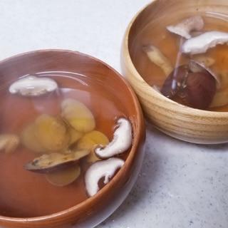 アサリと椎茸のお吸い物(茅乃舎の出汁で!)
