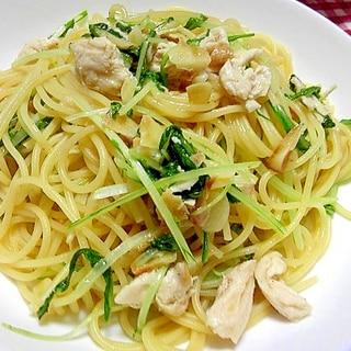鶏ささみと水菜の和風パスタ