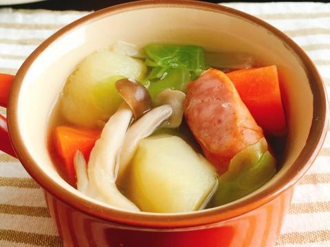 野菜とウインナーの食べるコンソメスープ