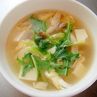 しめじと豆腐たまごのスープ