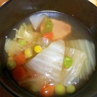 ベーコンと白菜とミックスベジタブルのスープ