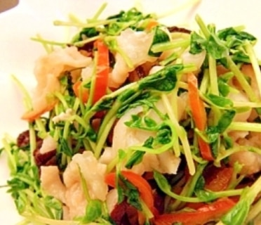タコと豆苗の中華ソテー