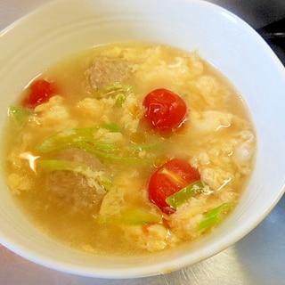 ダシダで☆鶏団子とねぎ・ミニトマト・卵スープ☆