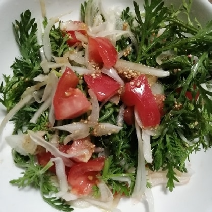 春菊と玉ねぎを氷水に浸して、しゃきしゃきのサラダが、出来ました。春菊のサラダは、初めてですが、さっぱりと、美味しく出来ました。