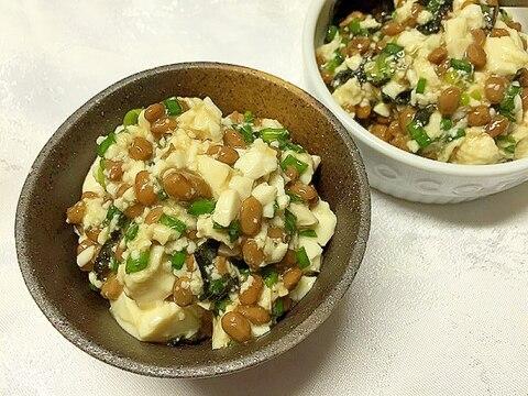 納豆と豆腐のたっぷりネギ海苔和え