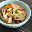 海老と根菜、きのこの具沢山味噌汁