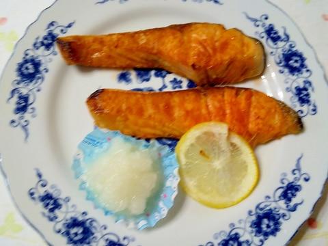 鮭の大根レモン添え