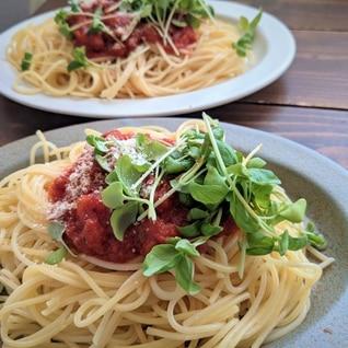 水煮パックでお手軽トマトソースパスタ