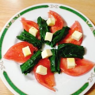 おつまみ☆トマトとほうれん草とベビーチーズのサラダ