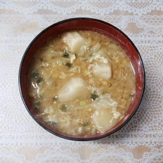 キャベツとお麩と卵のお味噌汁❤