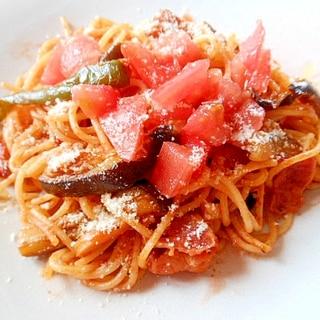 茄子・ベーコン・トマトパスタ