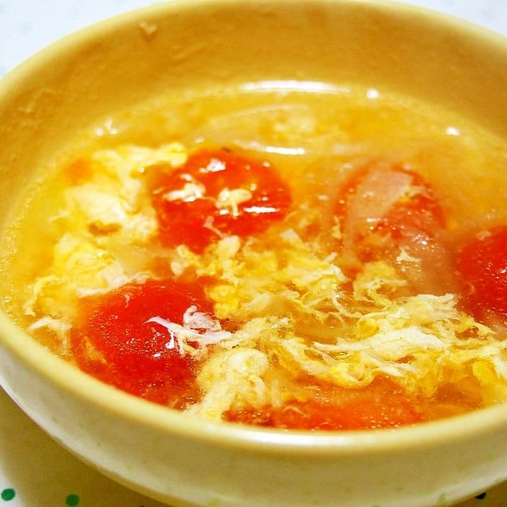 プチトマトと卵のふんわり中華スープ♪