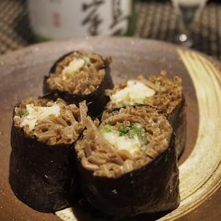 【鳥取食材】蟹と水菜の蕎麦寿司