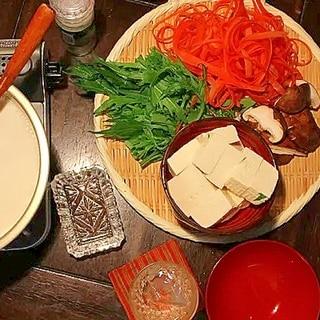 豆腐と野菜の豆乳なべ