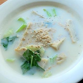 5分!?中華味❤ゴボウ天とチンゲンサイのスープ♪